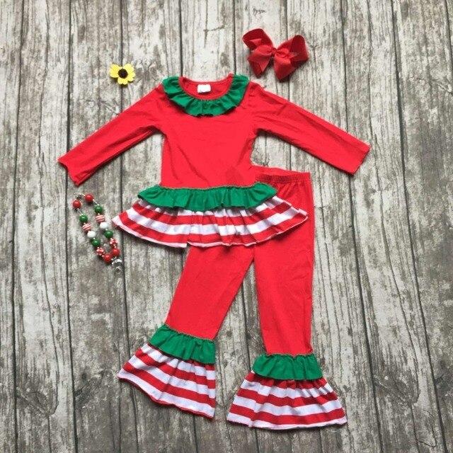 Детские девушки Рождество наряд девушки красный и Зеленый одежда лавровый девушки бутик партия одежды с аксессуарами