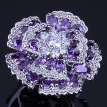 Eye-Catching Huge Flower Purple Cubic Zirconia White CZ 925 Sterling Silver Ring For Women V0531