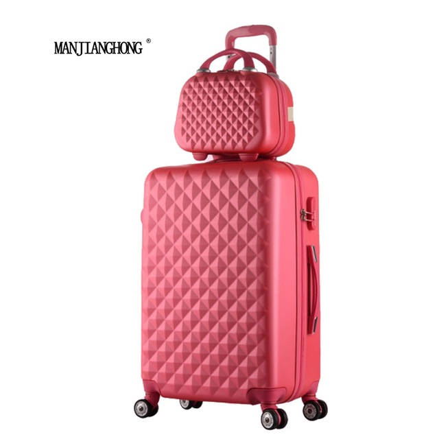 "24""+12""Hot sales Diamond lines Trolley suitcase set/travell case luggage/Pull Rod trunk rolling spinner wheels/ ABS boarding bag"