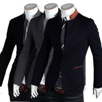 Brand Men's Fashion Suit Coat Jacket One Button Stand Collar Formal Blazer Slim Fit Jackets Outwear 3 Colors
