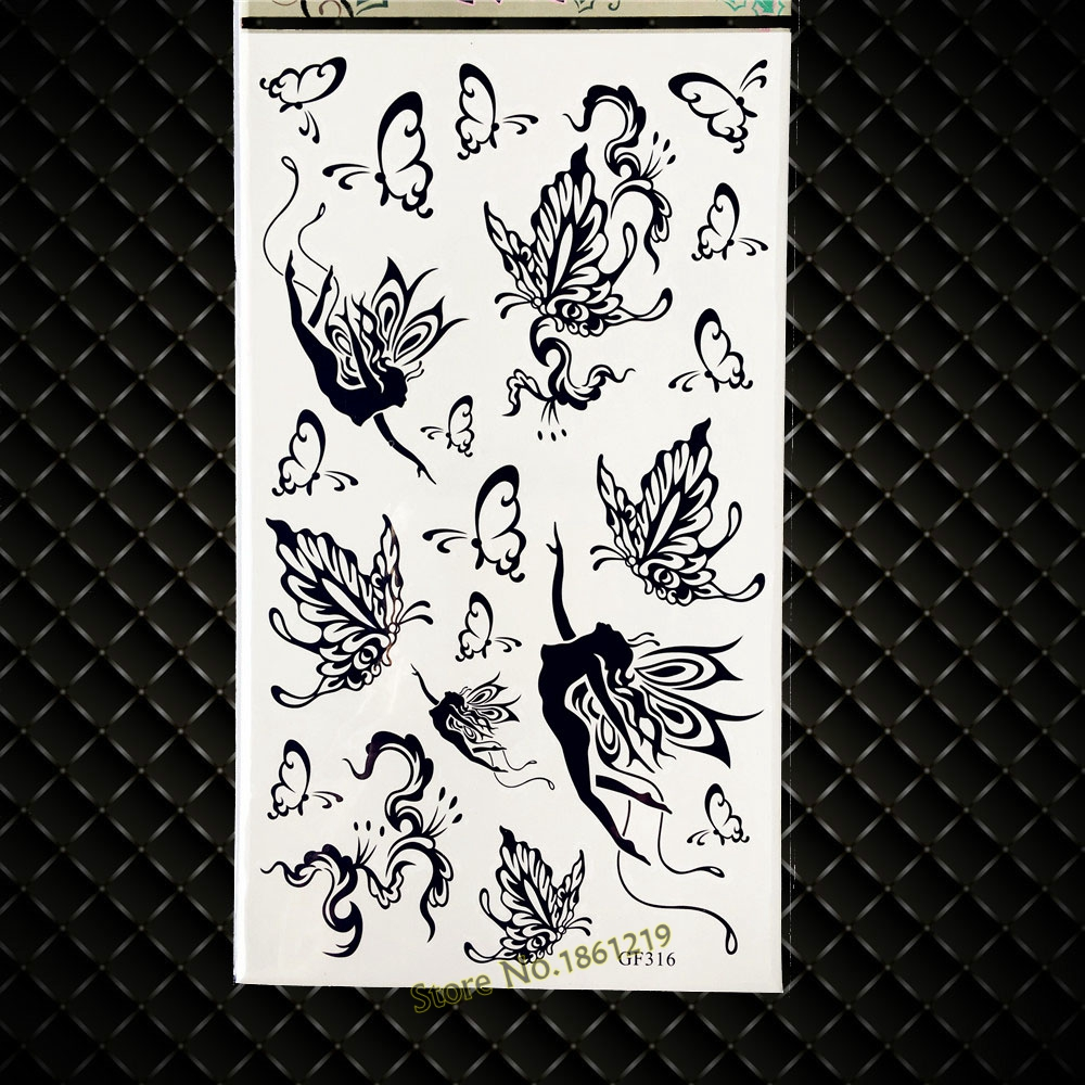 Black Butterfly Fairy Temporary Tattoo Elf Designs Fake Flash Tattoo Stickers GGF316 Kids Body Arm Legs Shoulder Tatoo Sticker