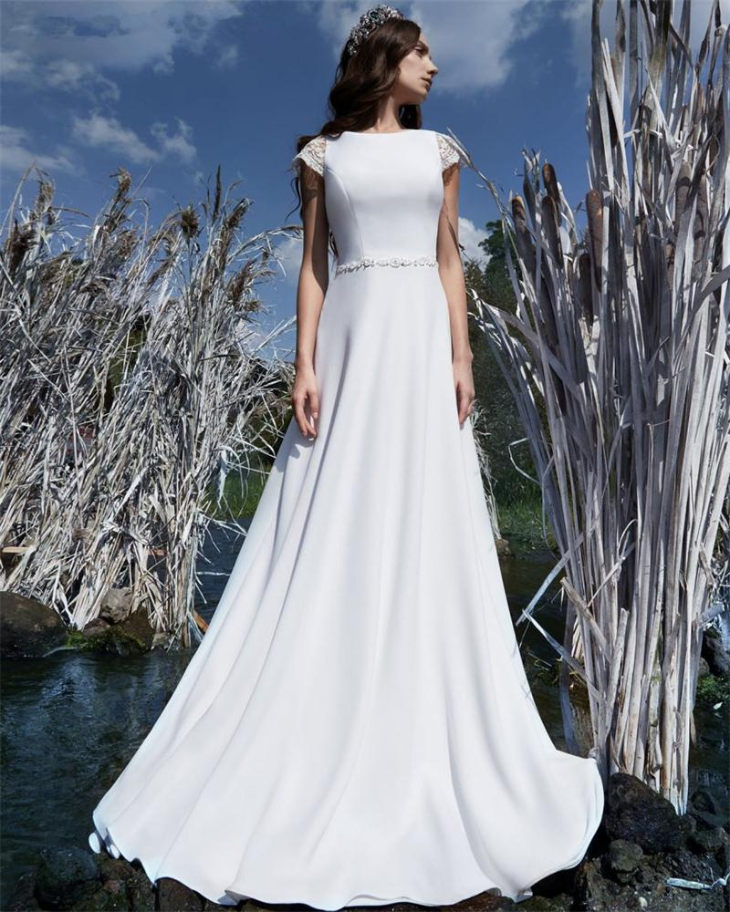 Cheap Wedding Gowns With Sleeves: 2017 Cheap White Simple Wedding Dresses A Line With Belt