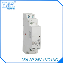 Din rail household AC contactor  25A 2P 1NC 24V  Household contact module Din Rail Modular contactor rated current 50a 3poles 1nc 1no 24v coil ith 80a ac contactor motor starter relay din rail mount