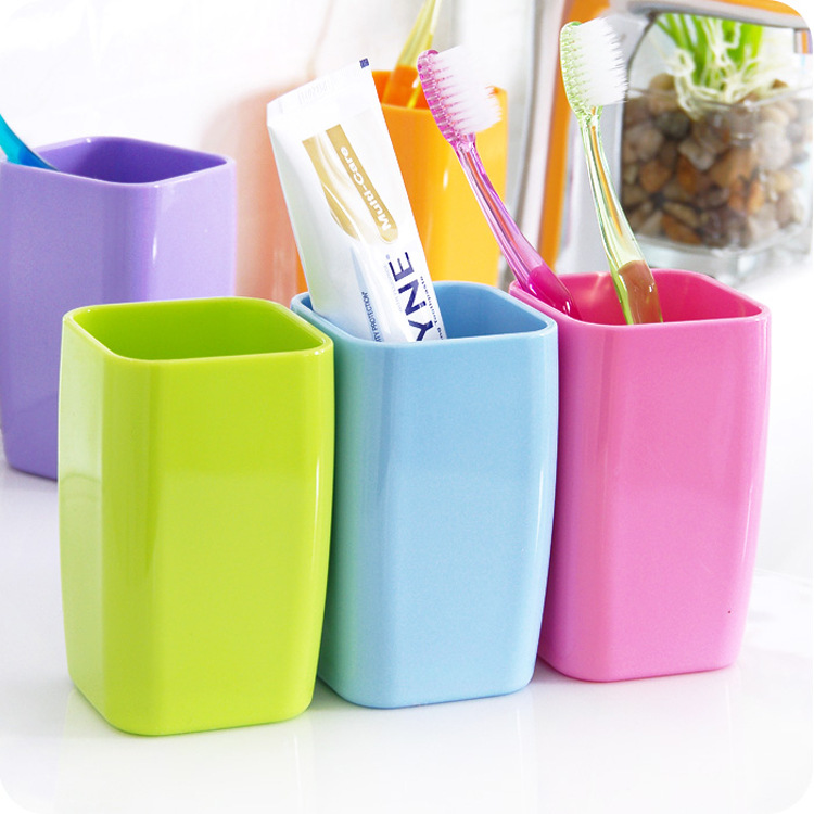 Square Thicken Creative Gargle Cup Bathroom Toothbrush Toothpaste Holder Travel Cups Camping 6.5x6.5x10.8cm image