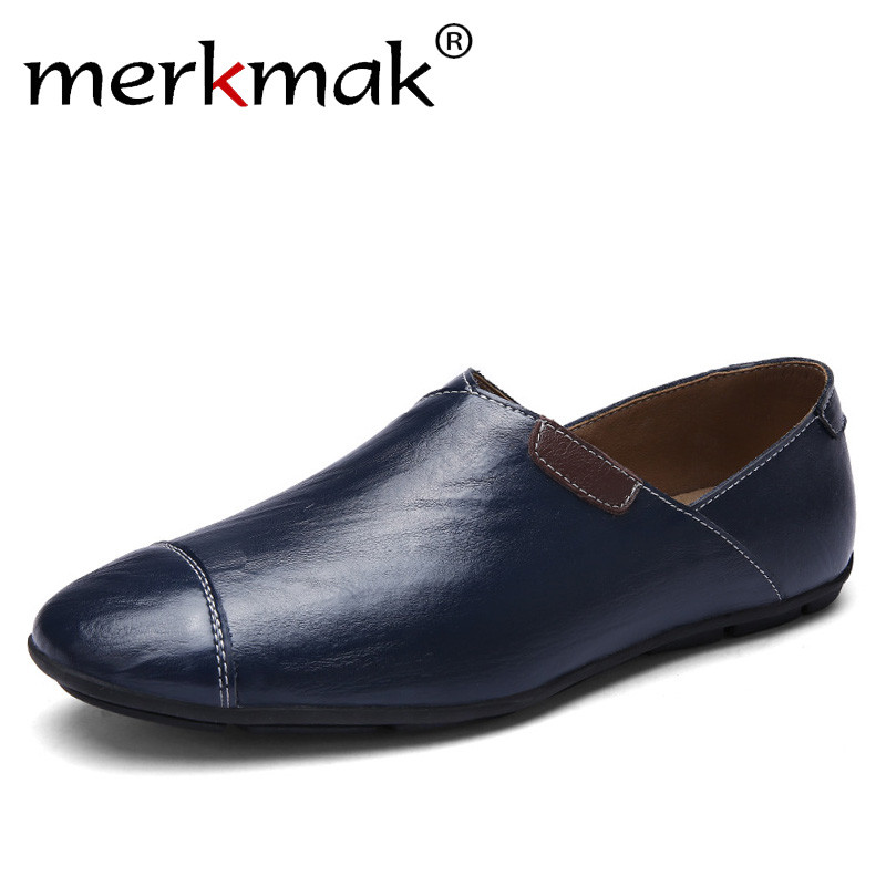 Merkmak Fashion Italian Style Men Causal Shoes Genuine Leather Comfort Loafers Soft Outdoor Driving Shoes Footwear