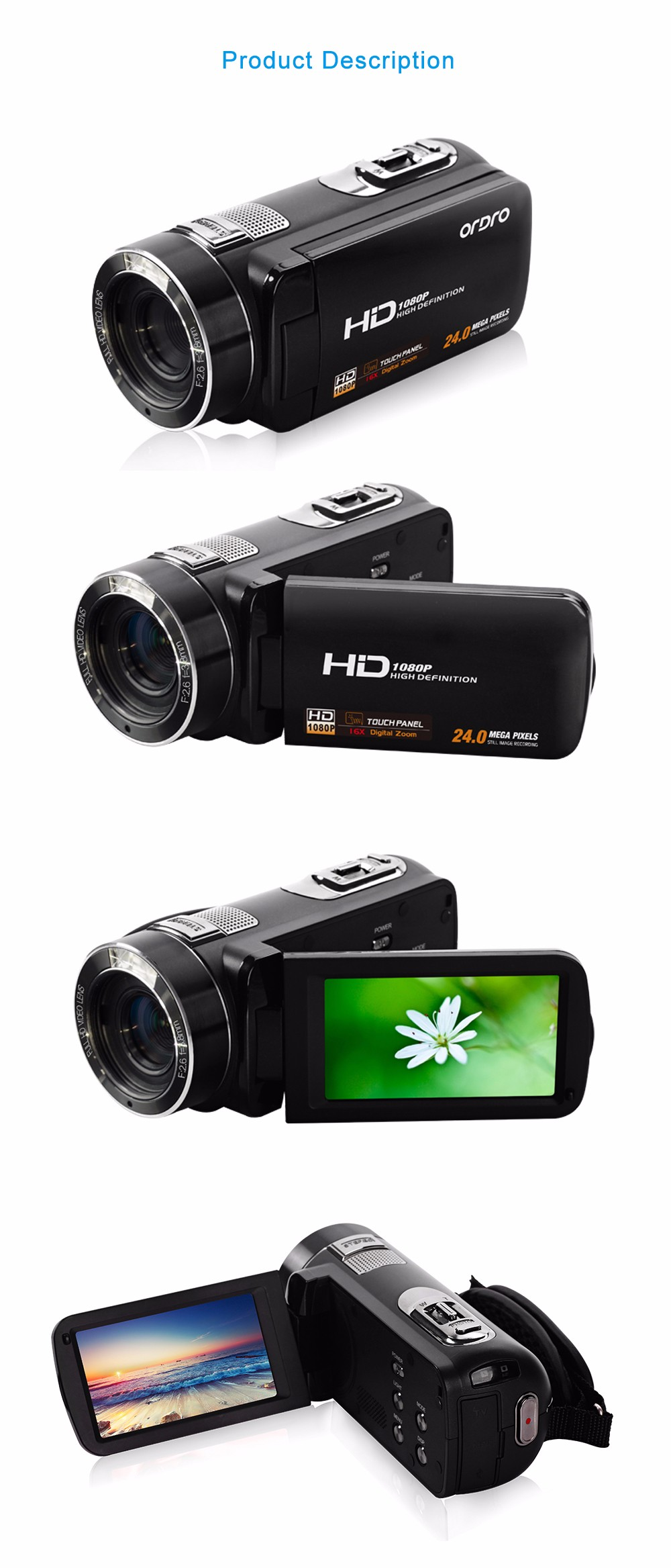 """Ordro Camcorder HDV-Z8 Plus 1080P FHD Digital Video Camera 3.0"""" LCD Touch Screen with Remote Control USB Port HDMI Output 12"""