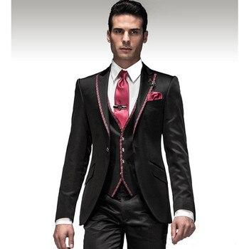 2017 Latest Coat Designs Groom Groomsmen Suits Tuxedos For Prom Wedding (Jacket+Pants+Vest) Men Suit Set Costume Marriage Homme