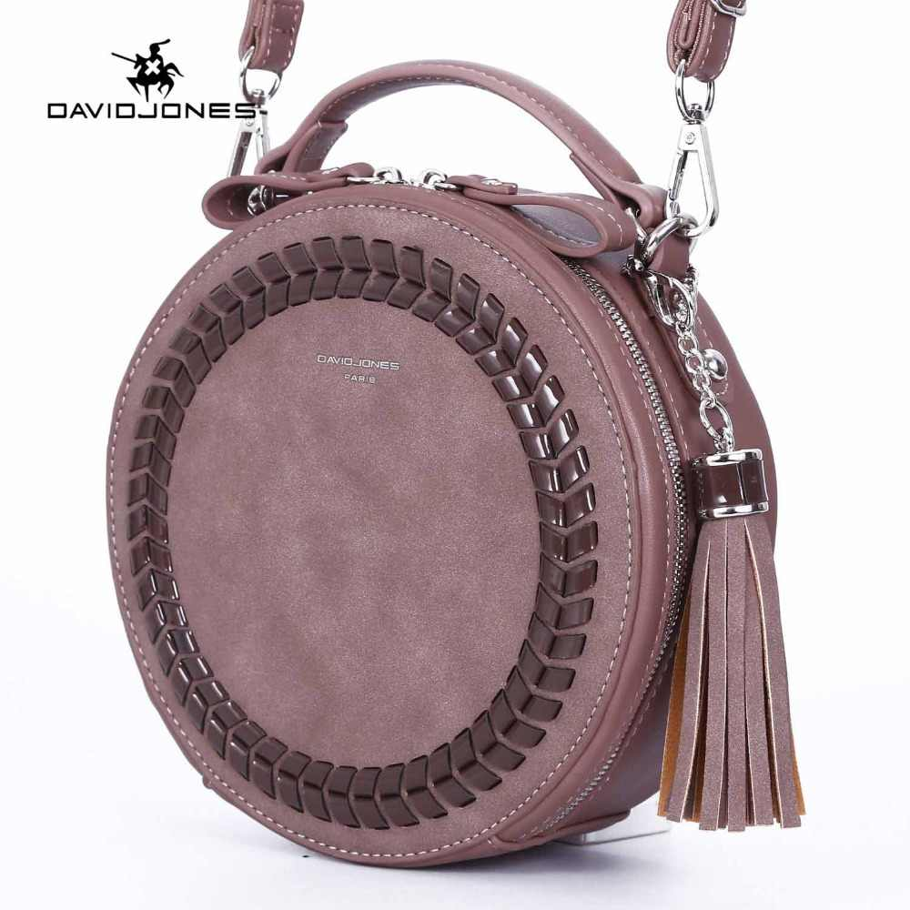 6b9421ddaf1e DAVIDJONES women shoulder bags pu leather female handbag mini lady knitting  round bag girl brand circular