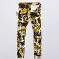 Mens Impresos Pantalones de Otoño de Los Hombres Delgados Pantalones Lápiz Discotecas Recta de Algodón Hombres Pantalones Hombre Ropa Plus Size # LS580