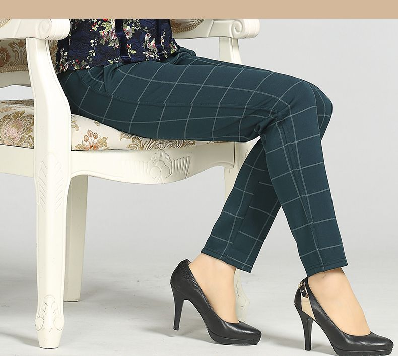 Woman Casual Pant Navy Blue Green Black Plaid Trousers Women Spring Autumn Winter Trouser High Waist Elastic Band Pantalonese Mujer  (13)