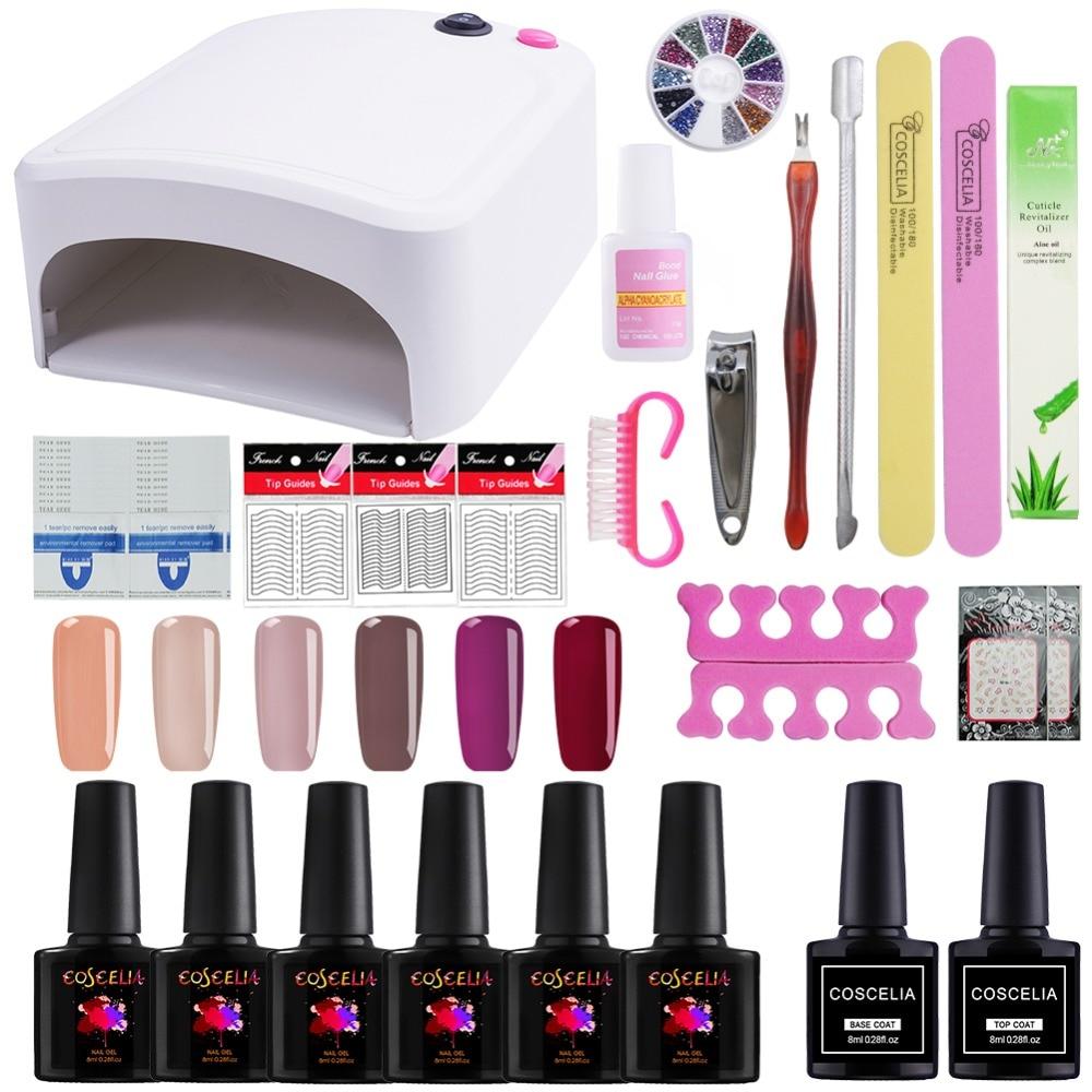 все цены на Nail Set with 36W UV Led Lamp 6Pcs Nail Gel Polish Acrylic Nail Kit Base Top Coat Gel Varnish Manicure Tools Set Nail Art Kit онлайн
