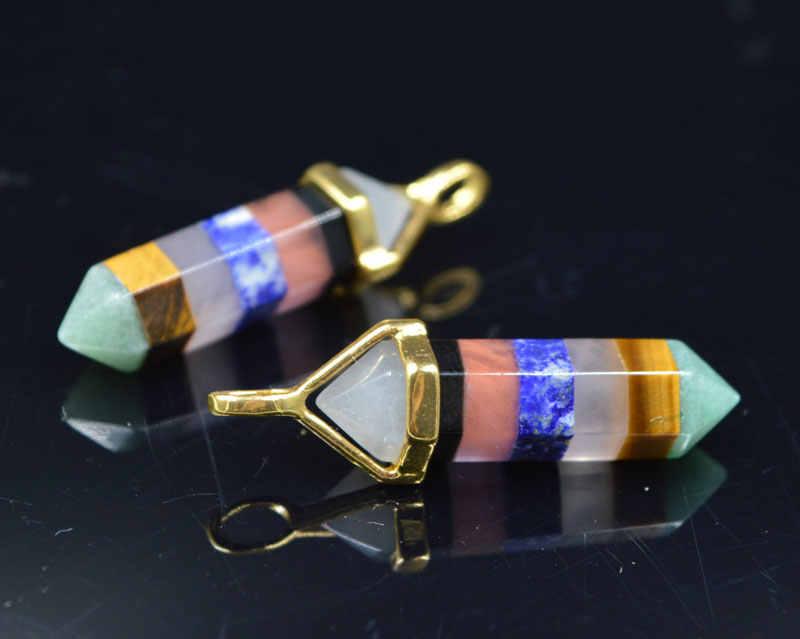 YA1928 Chakra wisiorek 7 kamienie Lucky Point zawieszka wybrać złoto instrumentu umorzenia lub konwersji długu 40x8mm