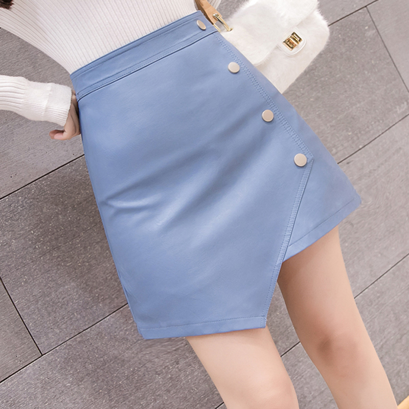 2019 New Spring, Summer, Autumn Leather Skirt Shiny PU Leather Mini Skirt Women Skirt NO868