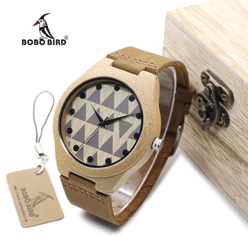 BOBO BIRD WA33A34 Lovers Design Brand Wooden Bamboo Watches With Real Leather Quartz Watch For Women