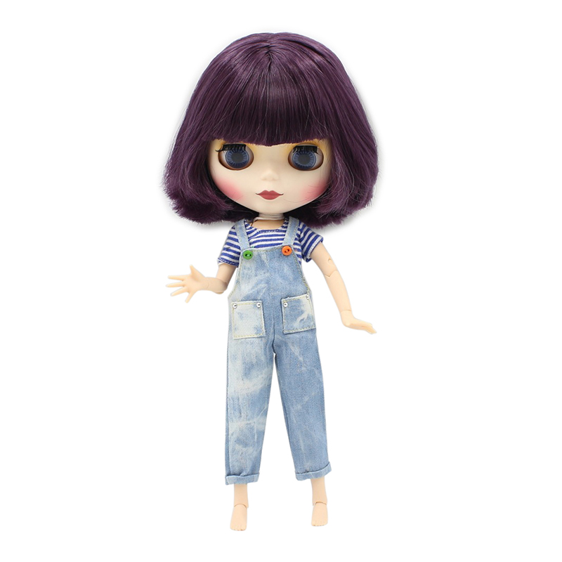Free shipping blyth doll icy licca body BL135 purple bob hair natural skin matte frosted face joint body 1/6 30cm gift toy все цены