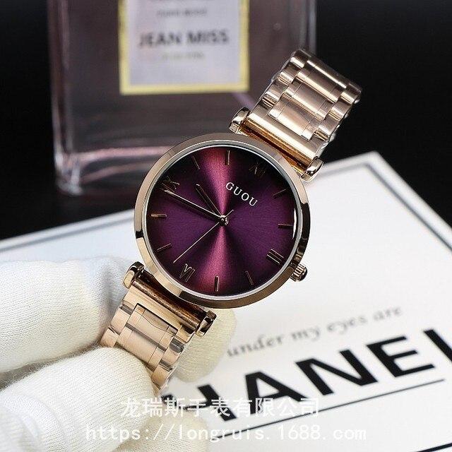 2016 Guou Marca Di Lusso Fashion Oro Rosa Acciaio Semplice Braccialetto Della Ra