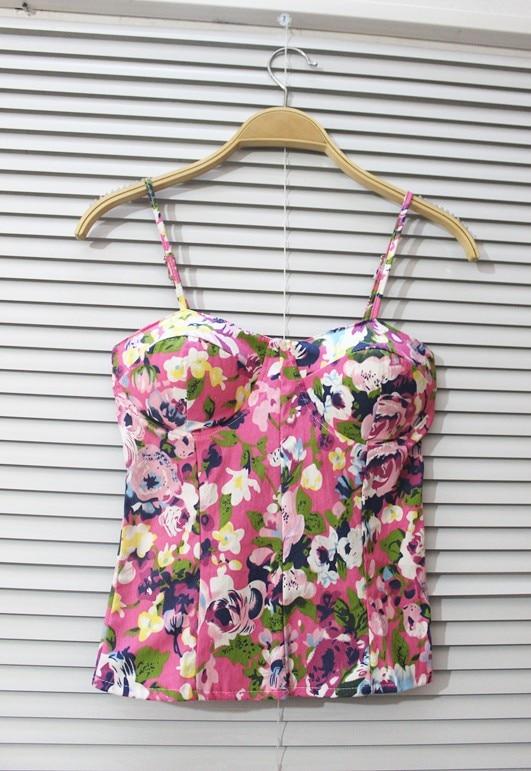 Fashion lena chili broken flower small vintage corset bra small vest tube top vest