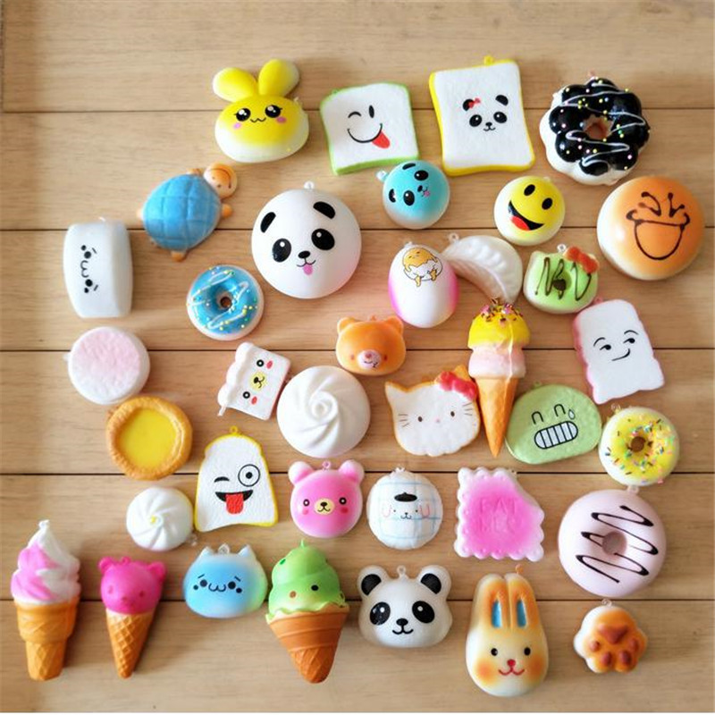 Squishy Slow Rising Toys 30 unids / lote simular alimentos correas elásticas colgantes perfumado raya pan Panda helado Squishies juguete de regalo