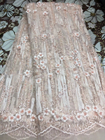 Nigerian Lace African Lace Fabrics Blown Nigerian French Lace Fabric High Quality Beaded Tulle Fabric