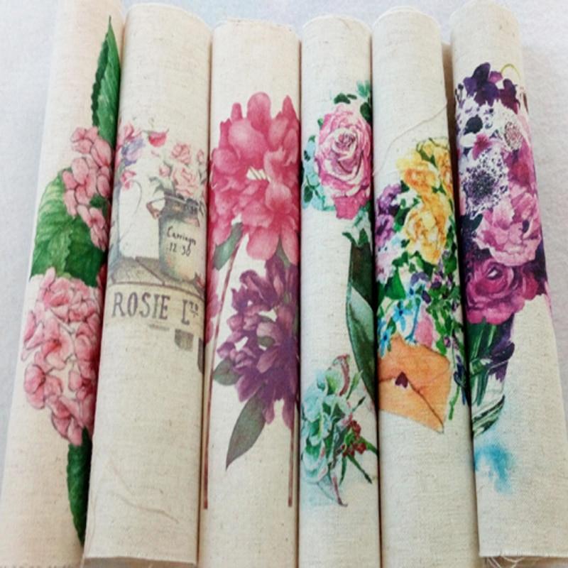 ZY DIY Digitální tisk Rozmanité krásné květiny Bavlněné textilie pro domácí šití Patchwork domácí textil