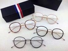 High quality Thom Browne eyeglasses frames TB905 men women Vintage prescription eyewear Round Reading glasses with box