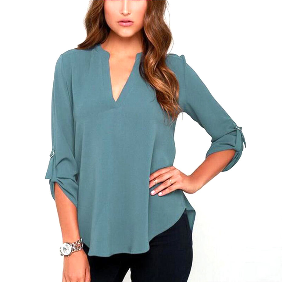 Women Chiffon Blouse Tops V Neck Long Sleeve Blouses Solid Sexy OL Office Lady Shirt Plus Size 4 Colors Blusas Femininas