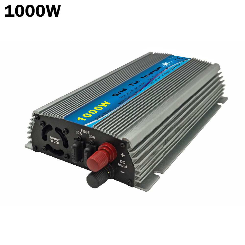 1000W Solar Grid Tie Inverter DC20V 45V to AC120 or 230V Pure Sine Wave Inverter 1KW For 24V/30V/36V 60cells/72cells Solar Panel