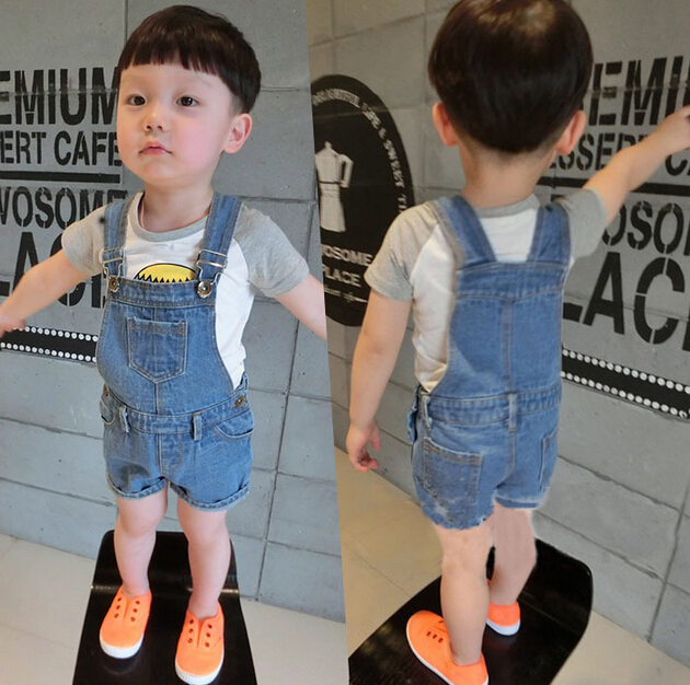 new 2017 summer children toddler baby&kids fashion denim overalls boys jumpsuit shorts jeans retail free shipping