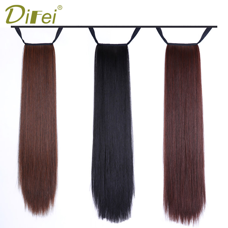DIFEI Synthetic Ponytail High Temperature Fiber Long Straight Clip in Drawstring Ponytail Hairpieces for Women ...