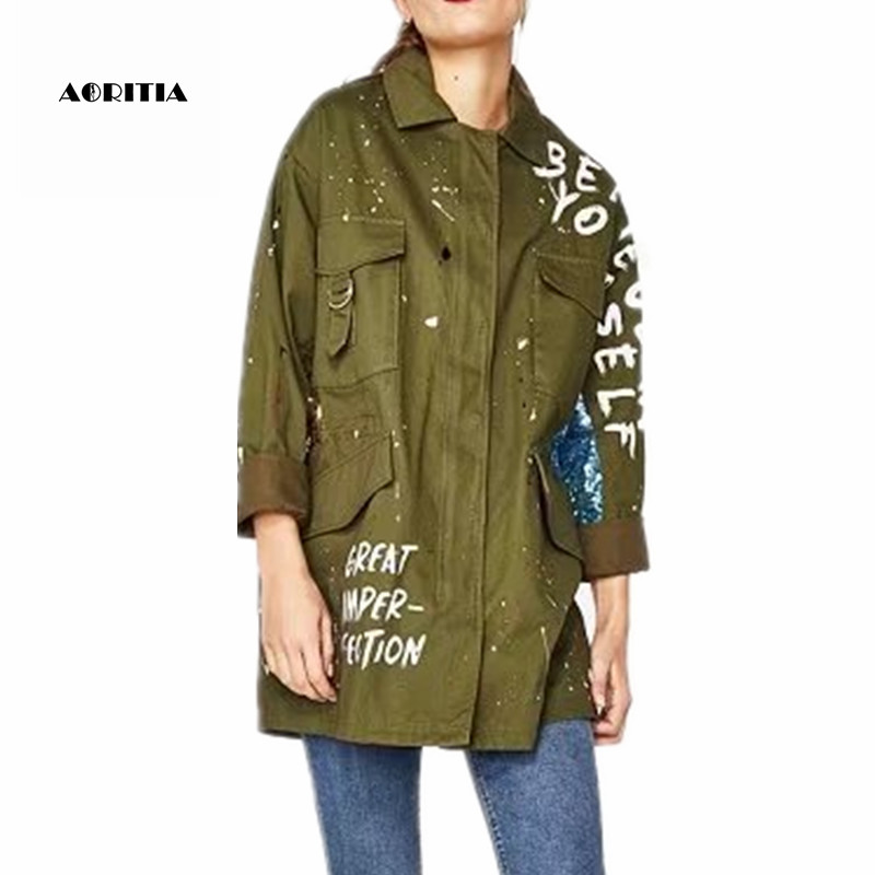 2018 Spring Autumn Women Sequins Army Green Jacket Denim Jeans Letter Jackets Outwear Jaqueta