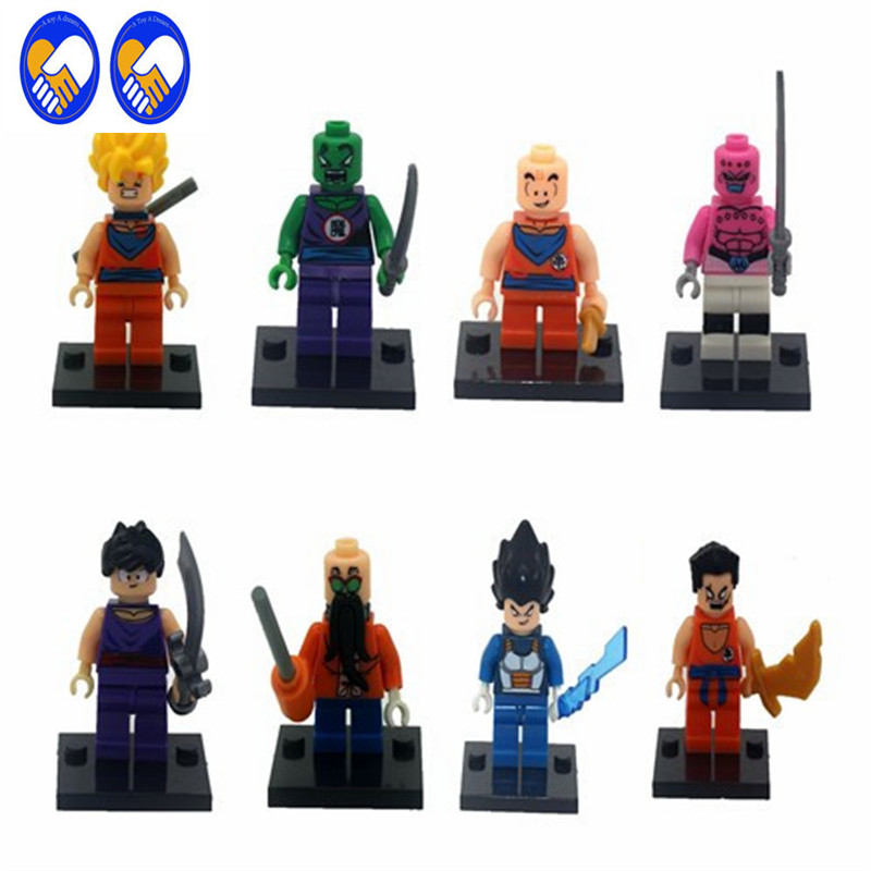 A Toy A Dream 8pcs JR265 Dragon Ball Z Figure Son Goku/Vegeta/Master Roshi/Krillin Models Children Gifts Toy Building Block Drop jlb 33901 33906 dragon ball z son goku vegeta master roshi minifigures toys building blocks sets model bricks figures legoelieds