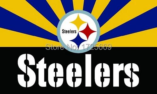 O Novo Pittsburgh Steelers 3ftx5ft bandeira Bandeira Bandeira do Poliéster  100D whit 2 Ilhós de metal f310b858c8908