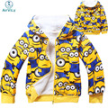 2017 New Minions Children Winter Outerwear Coats For Boys Girls Despicable Me Cotton Hooded Outerwear Coat Infantil Meninas
