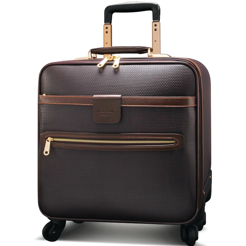 Quality leather trolley luggage universal wheels cowhide luggage bag commercial 16 20 24high quality luggage travel bag suitcase