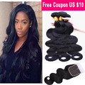 Brazilian Body Wave With Closure 3 Bundles Brazilian Virgin Hair Body Wave With Closure Grade 8A Unprocessed Human Hair Weave