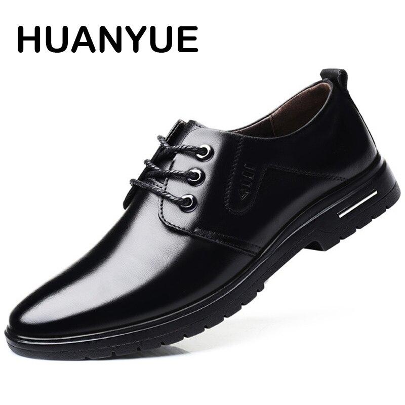2018 New Men Shoes Breathable Lace Up Men Leather Shoes Formal Oxfords Shoes For Men Black Business Dress Shoes Big Size 38-46