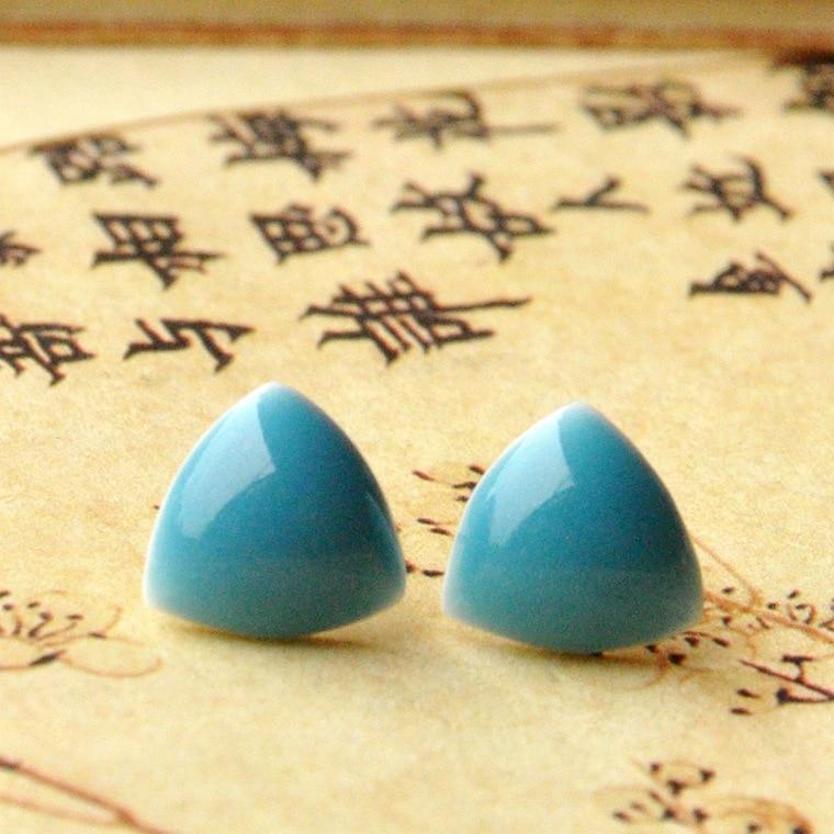 Fashion Jingdezhen Triangle Earring Stud Cute Pure Color Ethnic Style Ceramic Ea