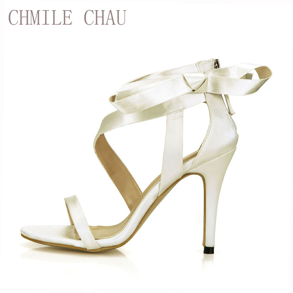 CHMILE CHAU Ivory Satin Elegant Wedding Bridal Party Women's Sandals Stiletto High Heel Riband Ladies Shoes Zapatos Mujer 210-1 free shipping ep2107 ivory women s open toe stiletto high heel satin flowers pearls bridal wedding sandals