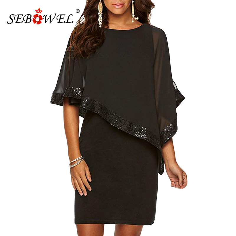 4f5b7e134eaa2 SEBOWEL Elegant Black Sequined Bodycon Poncho Club Party Dress Women Sexy O  neck Sleeveless Nightclub Mini Short Dresses Female-in Dresses from Women s  ...
