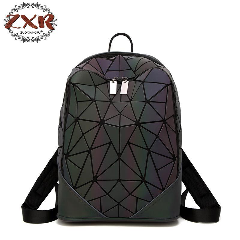 New Luminous Irregular Triangle Sequin Backpack For Men And Women Fashionable Rucksack Female Backpack Korean stylish black irregular triangle pattern voile bib scarf for women