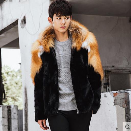 486aef63221 US $91.92 49% OFF|Fluffy Men faux fur Coats 2018 Winter Knitted Wear Hooded  Faux Fur Coat Men's Thikcen Fluffy Long sleeved Outwear Jackets M733-in ...
