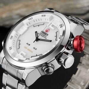 Image 1 - جديد OHSEN العلامة التجارية الرقمية الكوارتز رجال الأعمال المعصم الأبيض سوار فولاذي كامل موضة LED فستان عسكري ساعة عادية هدية