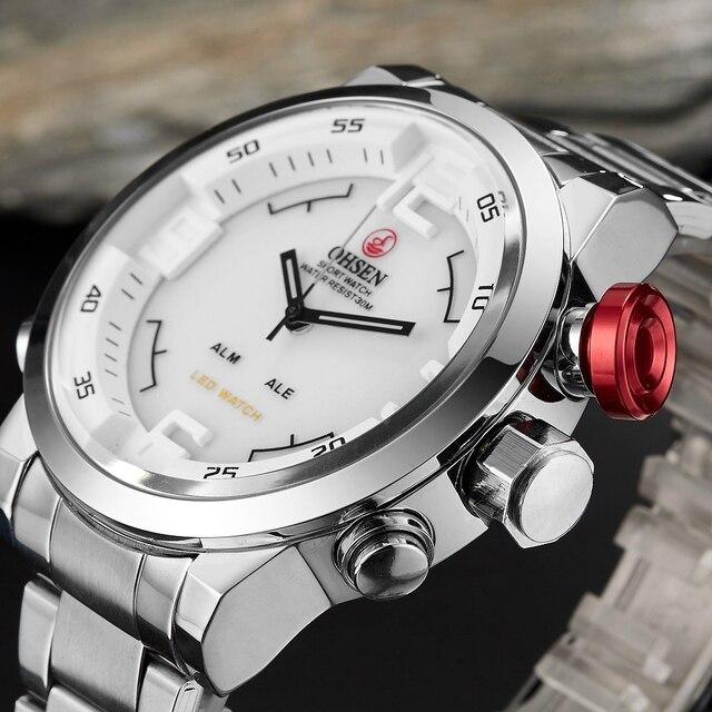 جديد OHSEN العلامة التجارية الرقمية الكوارتز رجال الأعمال المعصم الأبيض سوار فولاذي كامل موضة LED فستان عسكري ساعة عادية هدية