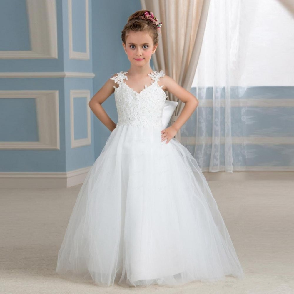 2018 New White Lace Ball Gown Flower Girl Dresses With Beads Floor Length Tulle Girl Dress Communion Gown 4 channel pcm voice telephone fiber optical media converter with 1ch ethernet 1pair fc single mode 20km multi mode 300meters