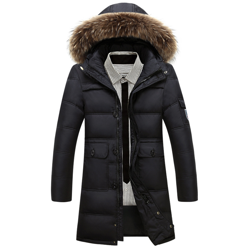 2016 Winter Jacket Men Hooded White Duck Down Long Coats Mens Thick Warm Winter Jacket Fur Collar 4XL
