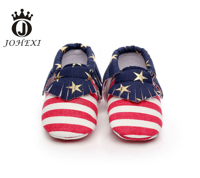 2017 Fashion Tassel Stripe Newborn Baby Boy/Girl Fristwalker Fringe Star Flag Canvas Moccasin Baby Shoe Toddler Shoe 10.5-14.5CM