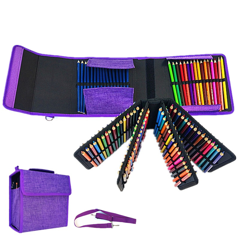 160 holes Pencil Case stationery Art Markers pens box Painting Folding box set Large Capacity School office Gift pouch with belt staedtler 308 sbk3p 3 pcs art markers pens set send backpack stationery office accessories school supplies