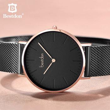 Bestdon 5.5mm Mens Watches Ultra Thin Waterproof Quartz Movement Wristwatch Clock Top Brand Luxury Casual Rose Gold Silver Male