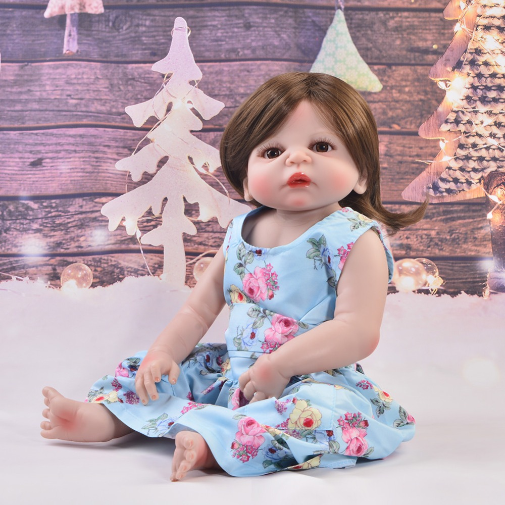 New Design 23'' Real Like Mom Reborn Babies Doll For Girl Kids Playmates Full Silicone Vinyl Body Boneca Reborn Educational Toys keiumi 23 inch reborn baby doll full body silicone princess babies girl real like new born doll boneca reborn kids playmates