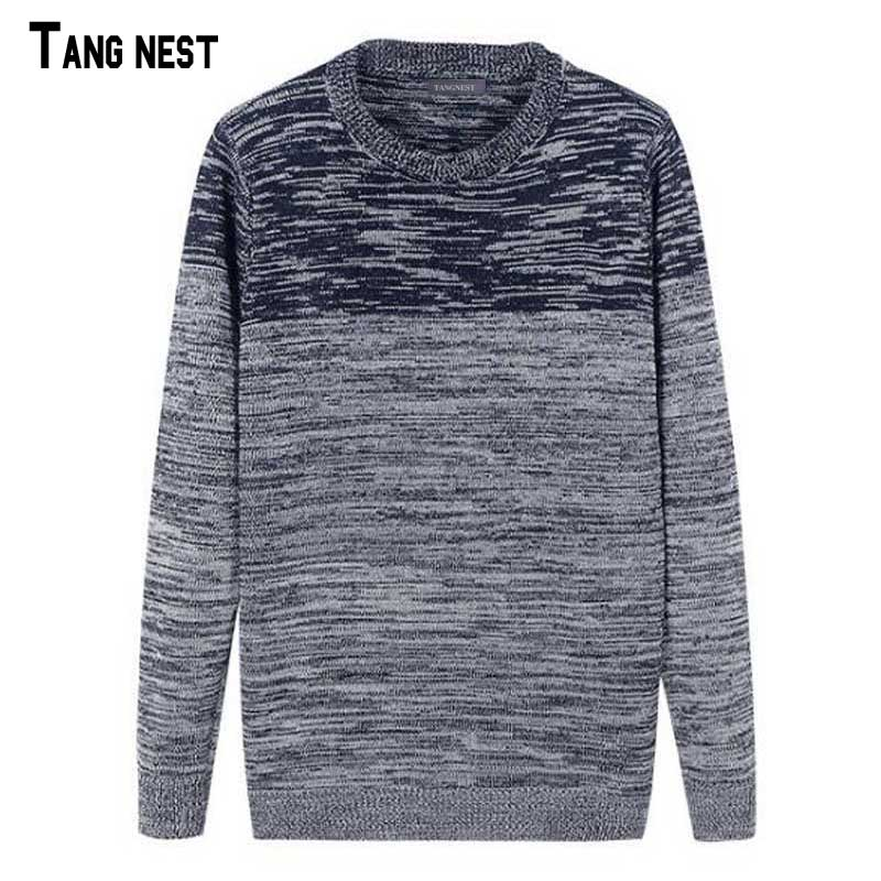 TANGNEST Men Knitted Pullovers 2018 New Casual Brand Male Gradient Color Design Sweaters Slim Knitting Pullover M-XXL MZL778